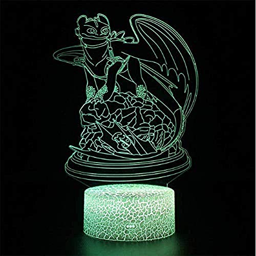 Bebé Spielzeug lámpara de ilusión 3D LED noche luz ilusión luz noche lámpara dragón lámparas sin dientes ilusión lámpara de mesa luz nocturna furia led noche luz cómo entrenar a su dragón 2 lámpara