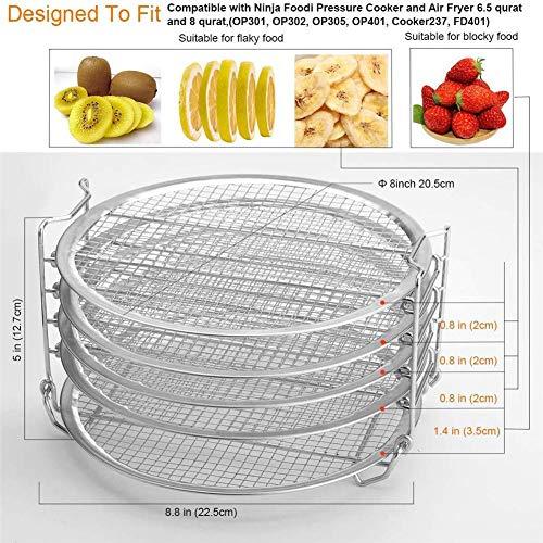 Falliback Friggitrice ad Aria con Supporto per griglia, Supporto per friggitrice impilabile a Cinque Livelli, Accessori per Rack per disidratatore in Acciaio Inossidabile per Alimenti 8.66 Generous