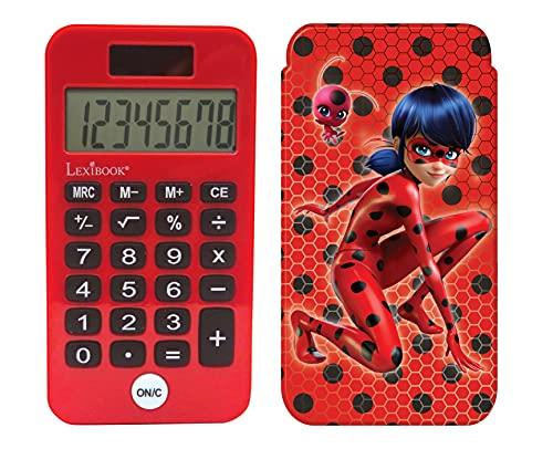 LEXIBOOK- Calculadora de Bolsillo Miraculous, Ladybug, Funciones de clásicas y avanzadas, Cubierta Protectora rígida, con batería, Rojo/Negro