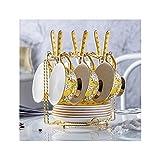 NAFE - Juego de té de cerámica de estilo europeo, set de té perfumado por la tarde, cuchara y platillo, amarillo, hogar, boda, regalo