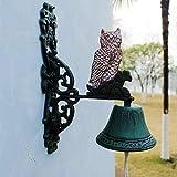 ZHTY Doorbell Front Bell European Creative Retro Cast Iron Art Welcome Manual doorbell Wall Bell Hand Crank Door Bell Wall Decoration Painted Owl Manual doorbell Doorstop