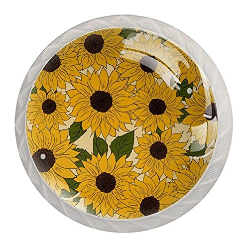 Bloomming girasoles amarillos, pomos de cajón para puerta de gabinete (4 unidades) redondos sólidos para oficina, hogar, cocina, baño