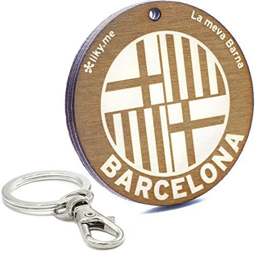 LIKY ® Barcelona - Llavero Original de Madera Grabado Regalo para Recuerdo...
