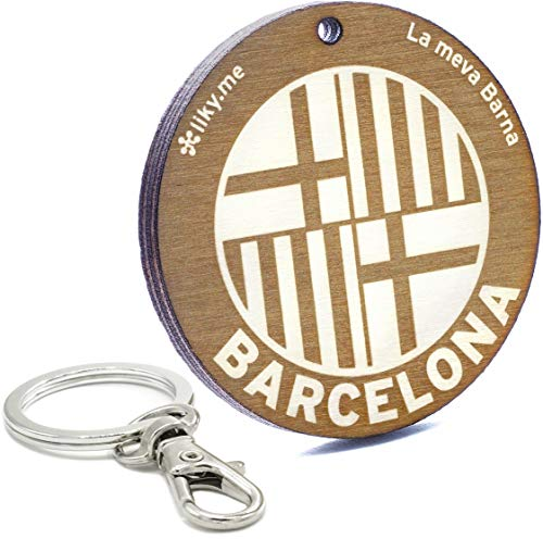 LIKY ® Barcelona - Llavero Original de Madera Grabado Regalo para Recuerdo Mujer Hombre cumpleaños pasatiempo Colgante Bolso Mochila