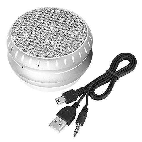 VBestlife Draagbare draadloze luidspreker, bevroren bluetooth-luidspreker van aluminiumlegering, ondersteunt FM-, TF-, USB, MP3- en handsfree bellen voor thuis, kantoor, camping, picknick enz, zilver