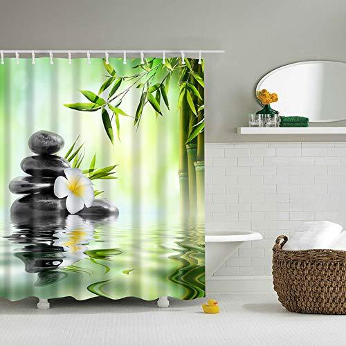 FHKGCD Bambus Und Steine Duschvorhang Gedruckt 3D Bad Wasserdicht Polyester Stoff Tuch Waschbar Bad Bildschirm Dekor 150 cm * 180 cm