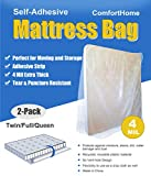 ComfortHome 4 Mil Extra Thick Sealable Mattress Bag with Adhesive Strip for Moving and Storage, Fits Twin Full and Queen Size, 2 Pack