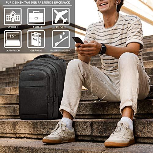 ROYALZ Rucksack für Schule Uni Freizeit mit Laptop-Fach 15,6 Zoll Studenten Schüler Herren Schul-Tasche viele Fächer gepolstert, Farbe:Schwarz
