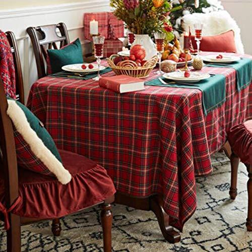 YQ TChristmas Mantel Rectangular Algodón Lino Rojo Navidad Mantel Azulejo Rojo Celosía Mantel Rojo Mesa Redonda Rectangular Lana Mesa De Centro Mantel(Color:Mordaza,Size:120x170cm)