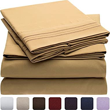 Mellanni Bed Sheet Set - Brushed Microfiber 1800 Bedding - Wrinkle, Fade, Stain Resistant - Hypoallergenic - 4 Piece (King, Gold)