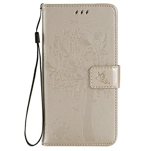 Karomenic kompatibel mit Samsung Galaxy S6 Edge Plus PU Leder Hülle Katze Baum Prägung Handyhülle Brieftasche Schutzhülle Klapphülle Ledertasche Ständer Wallet Flip Case Schale Etui,Gold