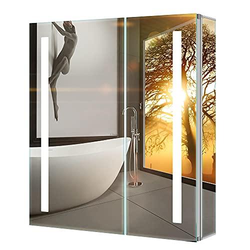 Tokvon® Penumbra 63x65cm Spiegelschrank LED Badezimmer Spiegelschrank mit Beleuchtung Wandschrank Licht Aluminium Beschlagfrei Rasier Steckdose IR