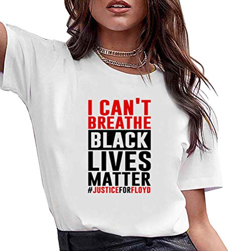 Whittie Black Lives Matter Justice for Floyd Protest Printing T-Shirt Femme Col Rond Eté Manches Courtes,M