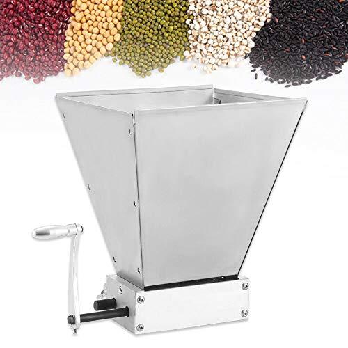 Getreidemühle Malzmühle, 8LBS/Min Getreidebrecher mit 2 verstellbaren Edelstahlwalzen Schrotmühle Grain Malt Mill Crusher Silber
