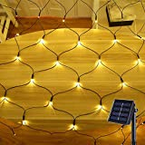 YASENN 200LED 9.9x6.6Ft Net Lights Solar Powered 8 Lighting Modes Mesh Lights for Garden Patio Outdoor Christmas Fence Bushes Shrub Decorations(Warm White)