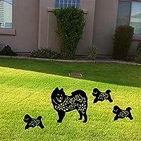 Yongqin 庭の装飾4個の庭のプラグさび、植物のプラグ、アクリルガーデンカード犬、庭のさびの装飾、中空の黒い庭の装飾、庭のシルエット、フロアスタック
