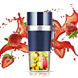 Portable Blender Cordless USB Rechargeable Personal Mini Fruit Mixer Single Serve Smoothie Maker Juicer Cup For Juice Protein Shake Baby Food Home Outdoor Travel Office Use, 13oz Blue