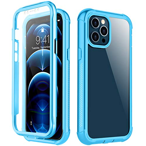 RedPepper Compatible with iPhone 12 Pro Max Case, Built-in Screen Protector Heavy Duty Full Body Shockproof Case (Blue)