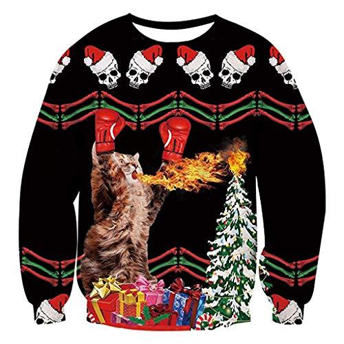 Zylione Unisex Pullover Weihnachtspulli 3D Gedruck Muster Rundhals Langarmshirt Hässlich Frech Jumper Sweatshirts Oberteile Bluse Winter Christmas Tops