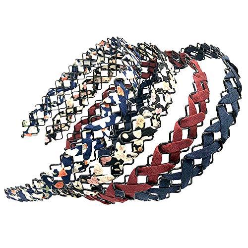 5 Pièces Élastique Ondulés Wave Bandeau, Bande de Cheveux Creuse Femmes Filles, Serre Têtes en Tissu Femme, Convient aux Cheveux Lisses, Bouclés et Ondulés