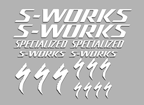 Ecoshirt OX-Q2D0-BLNJ Aufkleber S-Works F38 Bikes Sticker Decals Sticker MTB BTT, Weiß