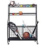 Garage Sports Equipment Organizer, Balls Storage Rack, Garage Storage System, Garage Balls Storage, Sport Gear Garage Storage Rack with Baskets for Balls, Rackets, Workout Gear, Yoga Mats,Toys