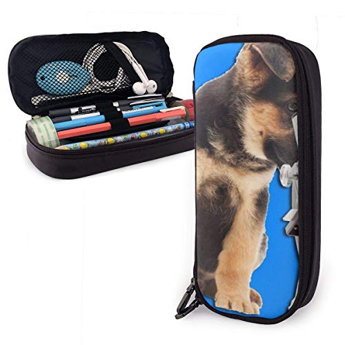 Federmäppchen aus PU-Leder mit Hunde- und Mikroskop-Design, strapazierfähig, für Schüler, Schreibwaren, Organizer mit doppeltem Reißverschluss, für Schule, Büro, 3,8 x 8,9 x 20,3 cm