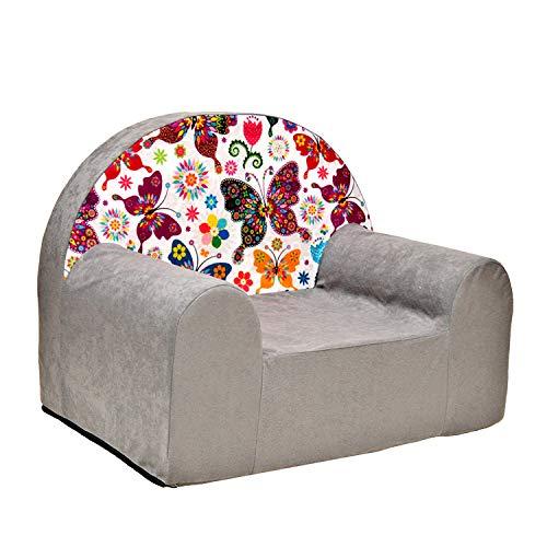 millybo Kindersessel Mini Sessel Kindermöbel Kinderstuhl Kindersofa viele Muster (A33-grau Schmetterlinge)