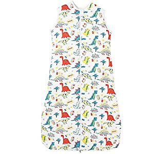Saco de dormir para bebé de invierno para niños y niñas, pijama de algodón de color dinosaurio, 2,5 tog (110 cm, color…