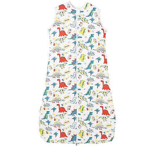 Imagen para Saco de dormir para bebé, de invierno, para niños, pijamas de algodón, 2,5 tog (130 cm, color dinosaurio)