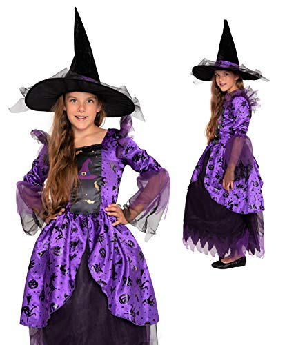 Magicoo Disfraz de bruja para niña (134/140), color morado y negro