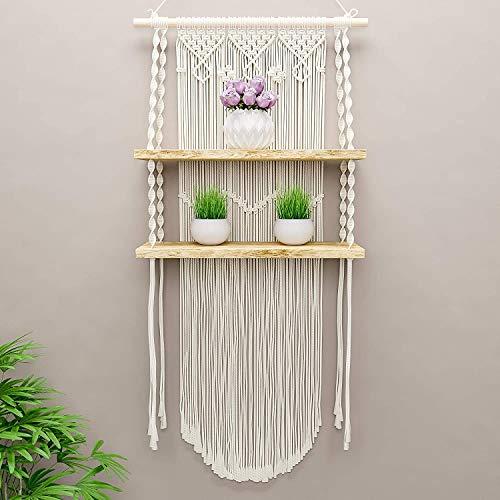 Boxanho Macrame Wall Hanging Shelf – Boho Shelf Hanging Wall Decor – Paulownia Wood and Cotton Rope Macrame Shelf – Perfect for Plants, Art, Picture Frames, Vintage Bohemian Home Decor
