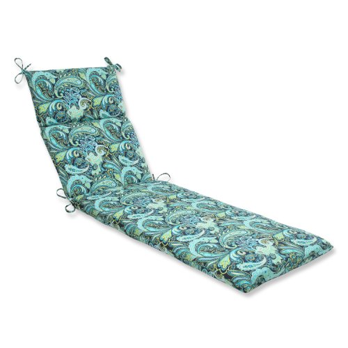 Pillow Perfect Outdoor/Indoor Pretty Paisley Navy Chaise Lounge Cushion, 72.5 in. L X 21 in. W X 3 in. D, Blue