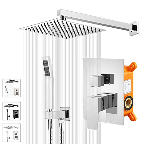 KEBAOShower System, Chrome Shower Faucet Set with 10