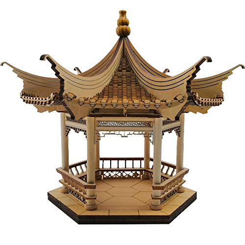 BEPM Holz 3D Puzzle Modell Modellbausatz Modellbau Sechseckiger Pavillon China Alte Architektur Modell Alten Pavillon Produktionsmaterial Miniatur Manuelle DIY-Montage Chinesische Struktur