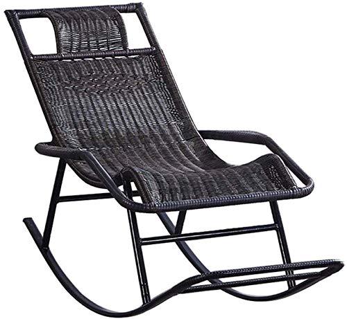 Leichter Schaukelstuhl aus Rattan, Sun Lounge Chair Sessel für Gartenterrasse Lawn Deck Beach Relax Liegestuhl mit Fußstütze Sonnenliege Max.150kg in Schwarz 46