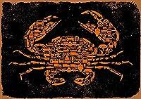 ブリキ メタル プレート サイン 2枚 カニ (黒背景) 金属錫サイン 12x8 インチ ホーム キッチン 寝室 バー サイン デコレーション