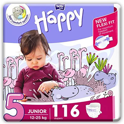bella baby Happy Windeln Größe 5 Junior 12 -25 kg, 1er Pack (1 x 116 Stück) mit maximalem Schutz und New Flexi Fit