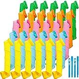30 Piezas Kit de Rizadores del Cabello Rulos de Pelo Espirales Rizadores Espirales Rodillos de Pelo Rizadores del Cabello sin Calor con 2 Piezas Ganchos de Peinado para Mayoría Tipos Peinados, 30 cm