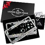Glass Diamond Car License Plate Frame – 2 Pack Handmade | Sparkly Bling Chrome Rhinestone Stainless Steel Metal Frames for Women & Men Cars Plates. AA SS16 Glitter Crystal (Glass Diamond Rhinestone)
