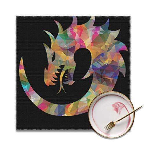 Plsdx Juego de 4 manteles Individuales de Mesa de Centro Dragon Dragon Myth Dragon Mythological Manteles Individuales de Mesa Juego de 4 manteles Individuales de Mesa de Comedor Lavables