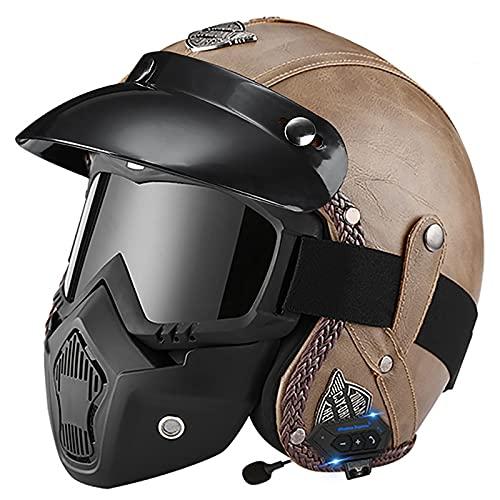 Bluetooth Casco Moto Jet,ECE Homologado,Adultos Casco Moto Abierto 3/4 Casco Moto para Mujer y Hombre,Casco Crash para Mofa Piloto Cruiser Chopper Scooter Biker D,XL=60~61cm