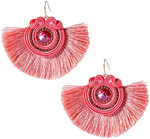 JY Pendientes Peculiares Vintage Diseño Creativo Estilo Étnico Pendiente de Cuero Joyería de Moda para Mujeres Soutache Hecho a Mano Tejido Grande Pendiente de Colgante Rojo Exquisi