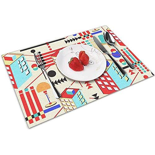 Strawberryran Bauhaus Design Tischsets für Esstisch, abwaschbares Tischset, hitzebeständiges 6er-Set (12 x 18 Zoll)