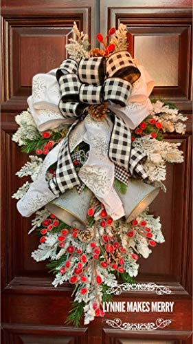 Lynnie Makes Merrychristmas Wreath Silver Bells And Red Berries Buffalo Plaid Farmhouse Front Door Winter Wreath Swag Dailymail