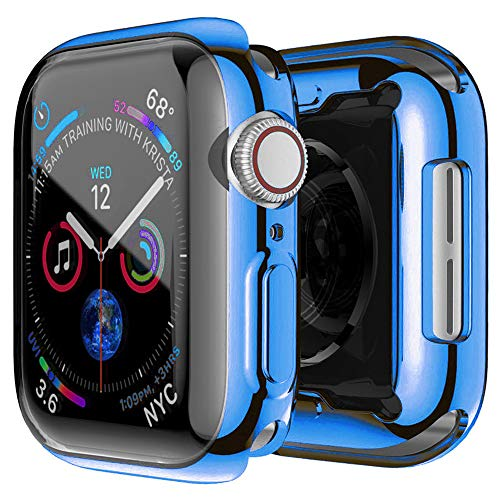 HANKN for Apple Watch Series SE 6 5 4 Screen Protector Case 44mm, All-Around Plated Soft TPU Shockproof Cover Bumper Iwatch (Blue, 44mm)