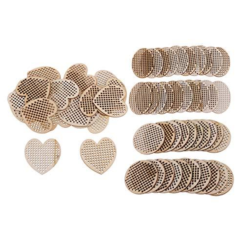 Sharplace 60 Piezas de Colgante de Madera Natural con Múltiples Agujeros, Tablero de Punto de Cruz, Joyería DIY