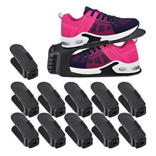 Relaxdays, Negro, 12 x 10 x 27 cm Organizador Zapatos, Pack de...