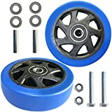 URBEST Push Cart Wheels, Heavy Duty 4 Inch PU Caster Wheels Bearings Repair Kits, Pltae Casters, Shelf Replacement Wheels for Platform Trucks up to 220 Pounds (M:4 Inch,Blue)