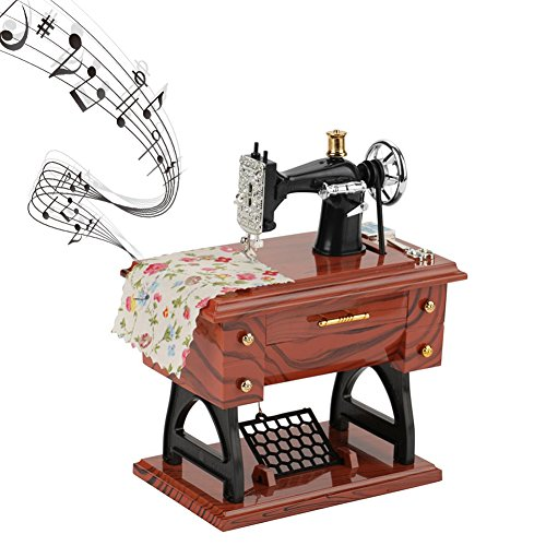 Classic Music Box Sewing Machines Model Mechanical Lovely Music Box Retro Music Box for Boys Girls Gifts Home Decoration